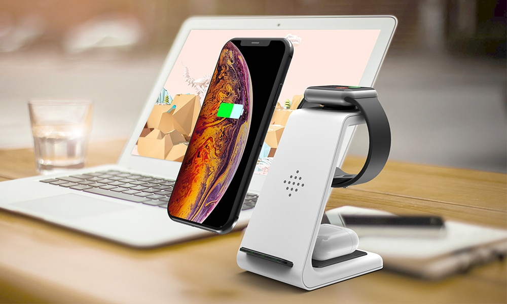 Bonola Qi 3 in1 Wireless Charging Station For iPhone11ProXrXsAirPods ProiWatch5 4 Wireless Charger For SamsungS10BudsWatch (15)