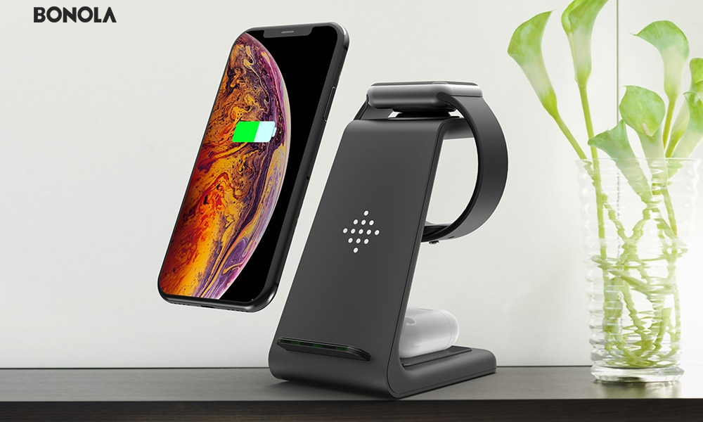Bonola Qi 3 in1 Wireless Charging Station For iPhone11ProXrXsAirPods ProiWatch5 4 Wireless Charger For SamsungS10BudsWatch (11)