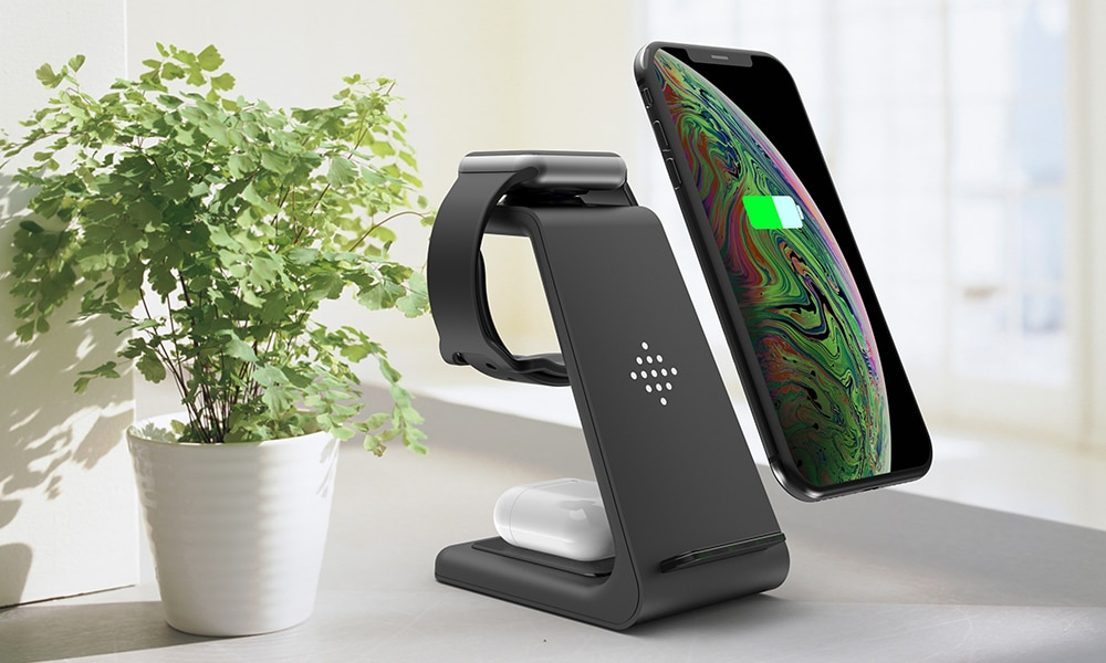 Bonola Qi 3 in1 Wireless Charging Station For iPhone11ProXrXsAirPods ProiWatch5 4 Wireless Charger For SamsungS10BudsWatch (13)