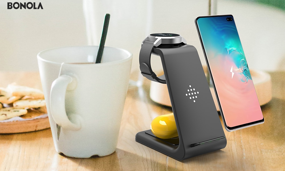 Bonola Qi 3 in1 Wireless Charging Station For iPhone11ProXrXsAirPods ProiWatch5 4 Wireless Charger For SamsungS10BudsWatch (18)