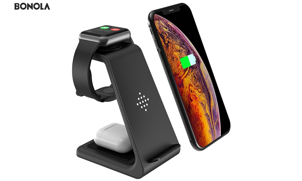 Bonola Qi 3 in1 Wireless Charging Station For iPhone11ProXrXsAirPods ProiWatch5 4 Wireless Charger For SamsungS10BudsWatch (1)